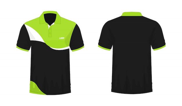 T-shirt polo green and black template for design on white background.