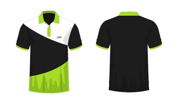 T-shirt polo green and black template