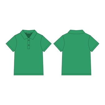 T-shirt polo in green color design template. classic polo shirt.