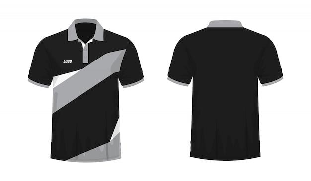 Tシャツポログレーと黒のtイラスト