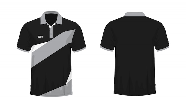 T-shirt polo grey and black t illustration