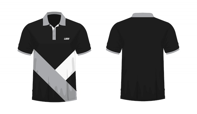 T-shirt polo grey and black template for design on white background.