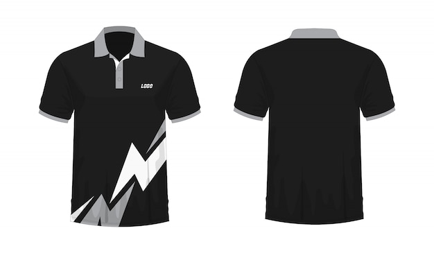 T-shirt polo grey and black template for design  .