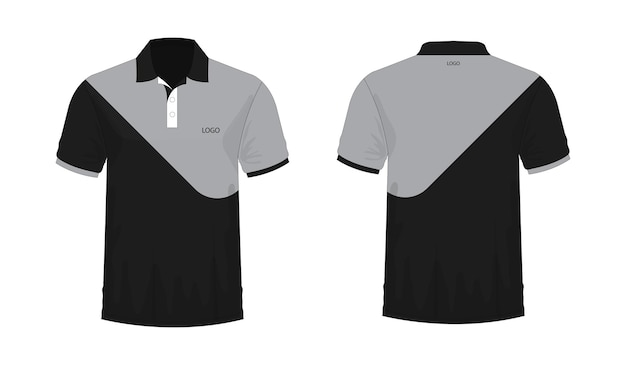 T-shirt polo grey and black template