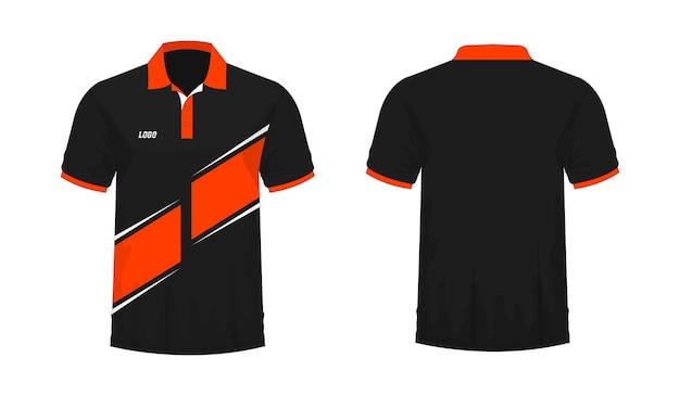 Футболка поло оранжево-черный шаблон для дизайна на белом фоне. векторная иллюстрация eps 10.