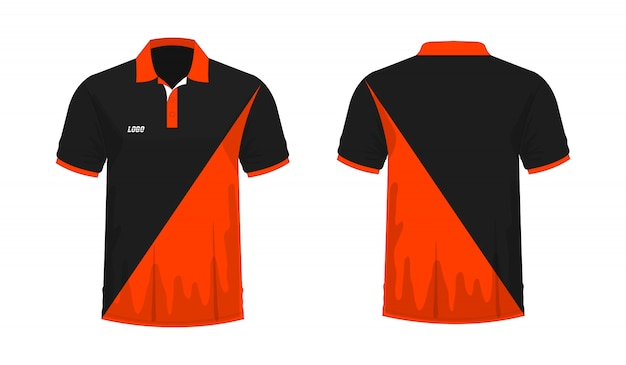 T-shirt polo orange and black t illustration