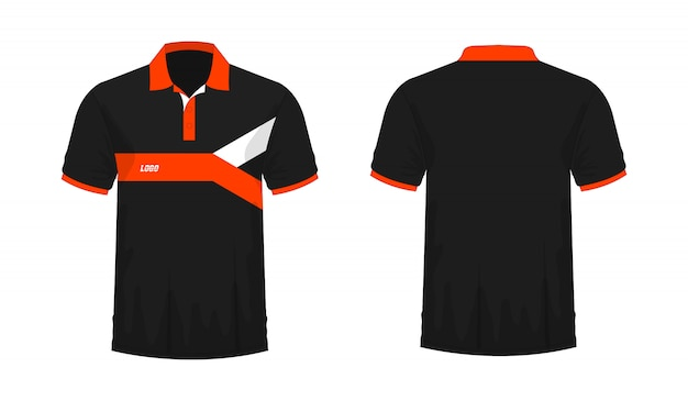 T-shirt polo orange and black template for design on white background.
