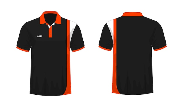 T-shirt polo orange and black template