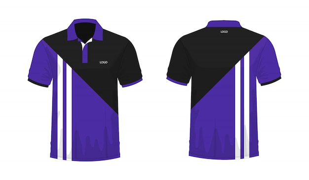 T-shirt polo purple and black template for design on white background.