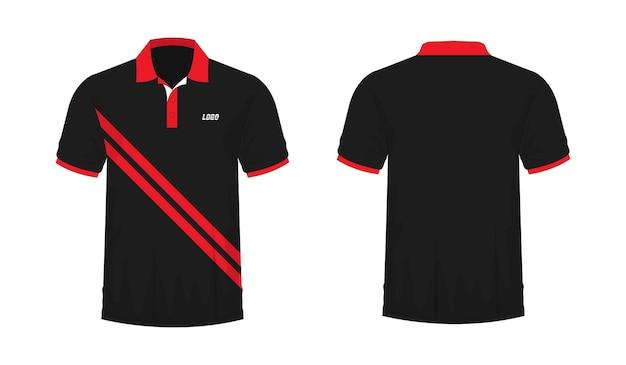 Футболка поло красный и черный шаблон для дизайна на белом фоне. векторная иллюстрация eps 10.