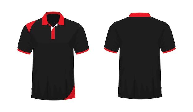 Tシャツポロ赤と黒のテンプレート