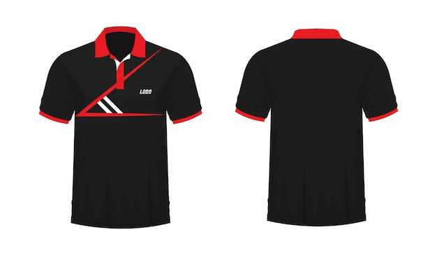 T-shirt polo red and black t illustration