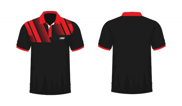 T-shirt polo red and black template for design on white background.