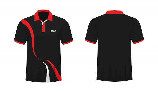 T-shirt polo red and black template for design  .