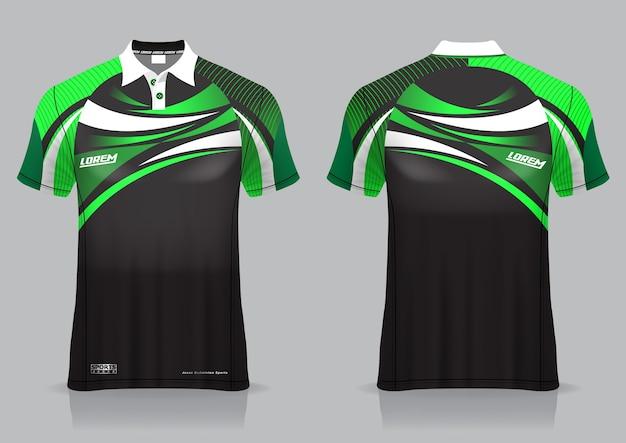 Tシャツポロスポーツデザイン、ユニフォームテンプレートのバドミントンジャージーモックアップ