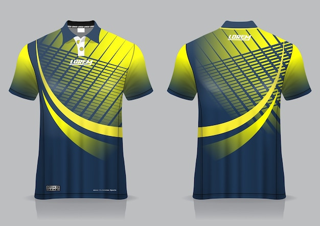 T恤马球运动设计,羽毛球运动衫模型,适用于制服模板