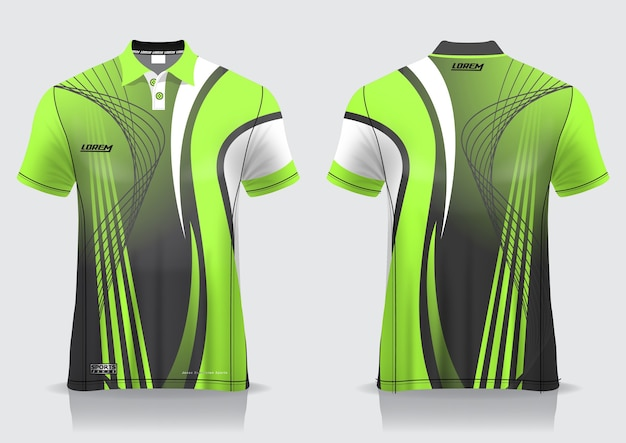 T-shirt polo sport design, badminton jersey mockup for uniform template Premium Vector