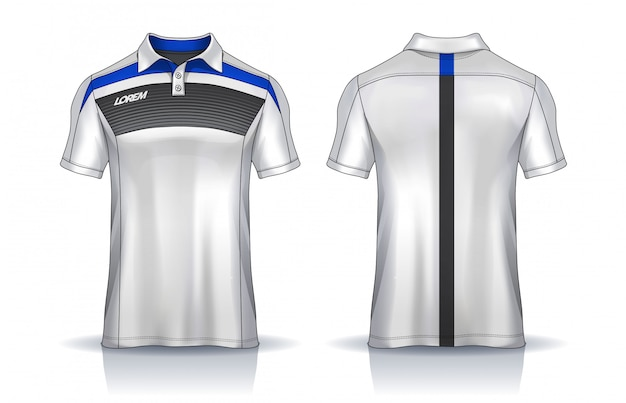 T-shirt polo templates  uniform front and back view.