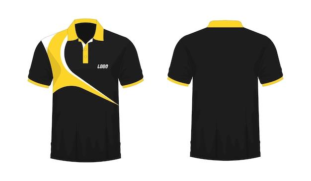 白地にデザインするためのtシャツポロ黄色と黒のテンプレート。ベクトルイラストeps10。