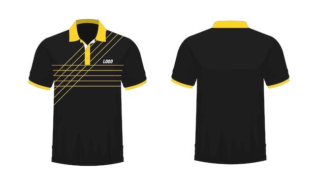 Футболка поло желто-черный шаблон для дизайна на белом фоне. векторная иллюстрация eps 10.