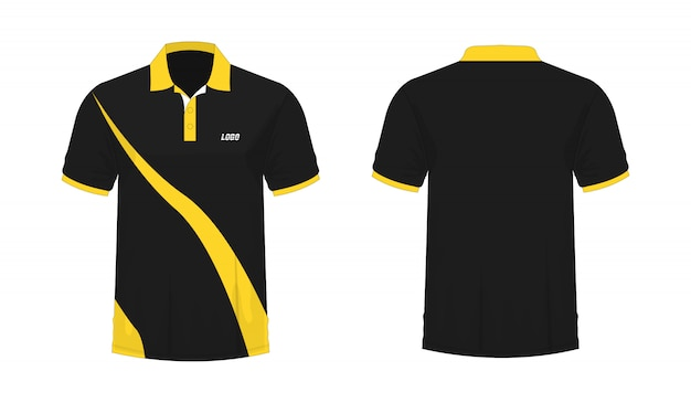 白い背景のデザインのtシャツポロ黄色と黒のテンプレート。