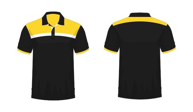 Tシャツポロ黄色と黒のテンプレート