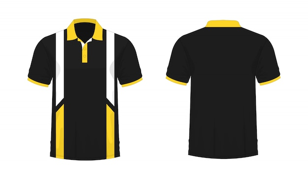 T-shirt polo yellow and black t illustration