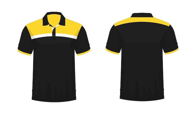 T-shirt polo yellow and black template