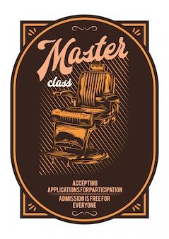 T-shirt o poster design con illustrazione della poltrona da barbiere.