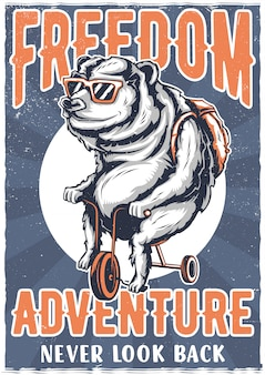 T-shirt or poster design with illustraion of bear on a bike