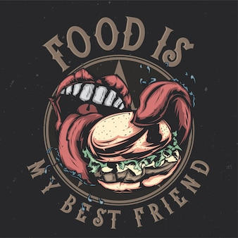 T-shirt or poster design with illustraion of big mouth eating big burger