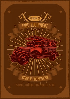 T-shirt or poster design with illustraion of fire truck with axes on.