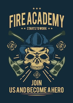 T-shirt or poster design with illustraion of firefighter with axes.