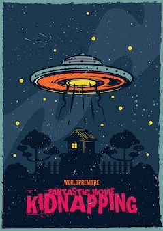 T-shirt or poster design with illustraion of flying saucer.