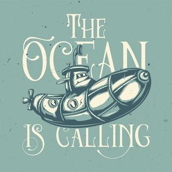 T-shirt o poster design con illustrazione di divertente sottomarino