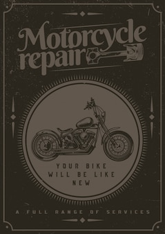 T-shirt or poster design with illustraion of motorcycle.