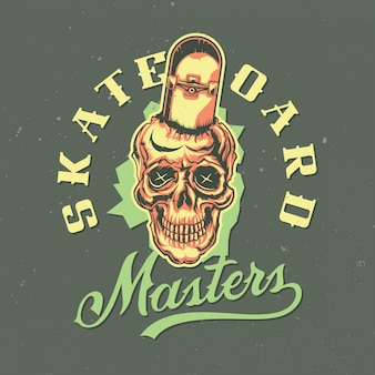 T-shirt or poster design with illustraion of skull with skateboard