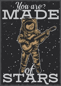 T-shirt or poster design with illustration of astronaut with guitar