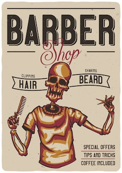 T-shirt or poster design with illustration of a barber shop with skeleton.