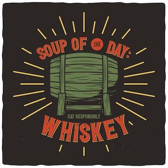 T-shirt or poster design with illustration of barrel