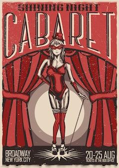 T-shirt or poster design with illustration of cabaret dancer girl