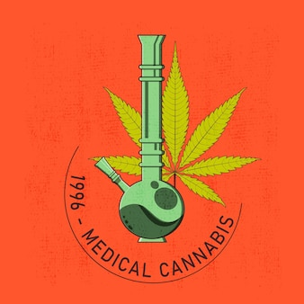 T-shirt or poster design with illustration of cannabis and a bong