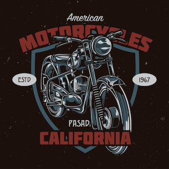 T-shirt or poster design with illustration of classic motorcycle