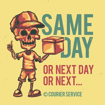T-shirt or poster design with illustration of a courier.