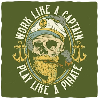 T-shirt or poster design with illustration of dead captain