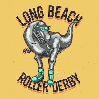 T-shirt o poster design con illustrazione di un dinosauro sui pattini a rotelle.