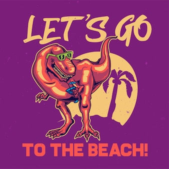 T-shirt o poster design con illustrazione del dinosauro.