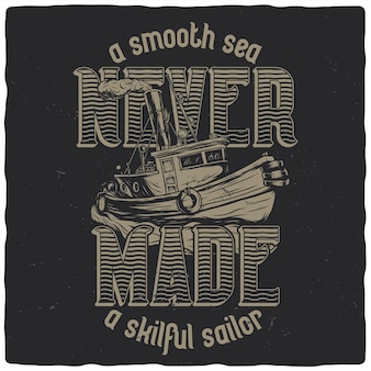 T-shirt or poster design with illustration of fishing boat