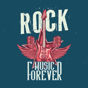 T-shirt or poster design with illustration of guitar, two microphones and wings