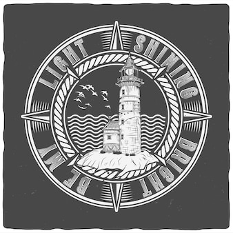 T-shirt or poster design with illustration of lighthouse